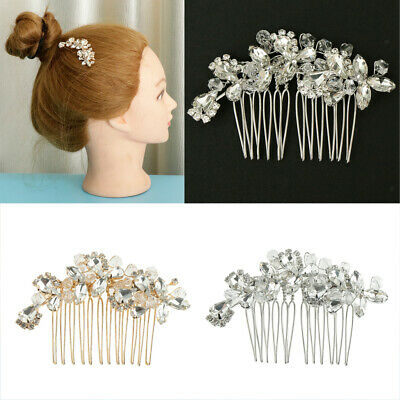 Wedding Hair Pins Bridesmaid Crystal Diamante Pearls Bridal Clips Comb 3Pcs