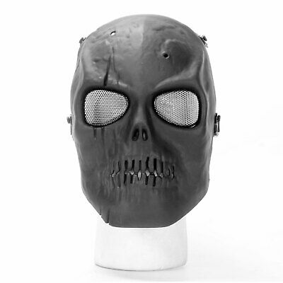 Airsoft Mask Full Face SKULL MASK Paintball MESH SCARRED BLACK Protection