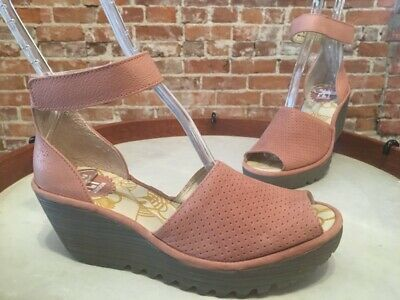 2760ac6b18ce Fly London Yake Rose Pink Perforated Leather Ankle Strap Wedge Sandal 41 10  New