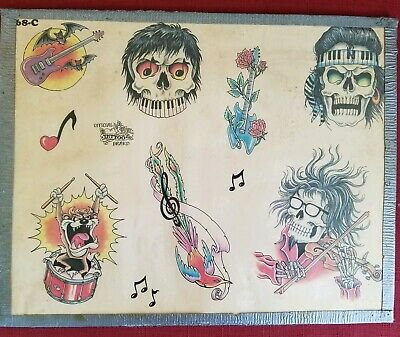 vintage 80s official monk-owned produx tattoo flash rocknroll skull taz music