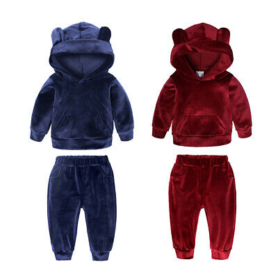2Pieces Kids Baby Girls Toddler Hoodie Jumpers Tops +Pants Trouser Suit Outfit