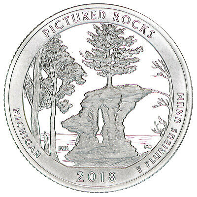 2018 S Pictured Rocks National Lakeshore 90% Silver Quarter ATB Gem Proof DCam