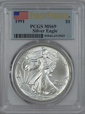 1991 American Silver Eagle PCGS MS69 First Strike