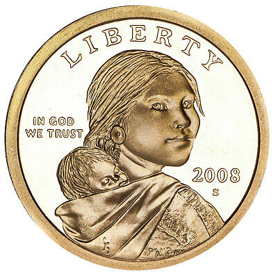 2008 S Native American Sacagawea Dollar Gem Deep Cameo Proof US Coin