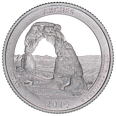 2014 S Parks Quarter ATB Arches National Park Gem Proof DCam CN-Clad Coin