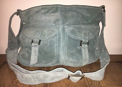 98f607b4ae3a Accessorize Leather Blue Cross Body Large Zipped Shoulder Bag Designer Hobo  Vgc