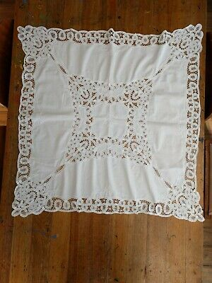 Vintage White Cotton Cutwork Small Tablecloth