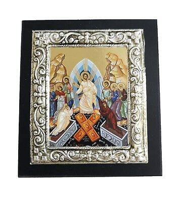 Greek Orthodox Lithography Icon Ikone Resurrection of Christ 10cm x 11.5