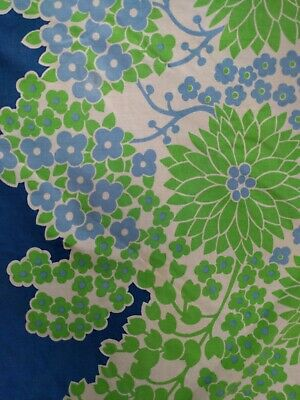 Vintage Retro Round Tablecloth Blue Green Flowers