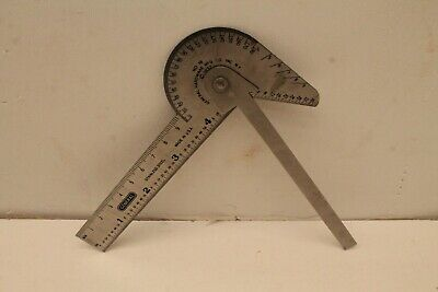 Vtg Machinist Tool General Stainless Steel No 16 Hardware Mfg Co Protractor Rule