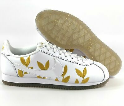 40e5615ae8a4 NIKE Classic Cortez Women s Goddess Leather Running Shoes White Gold AR5393  100