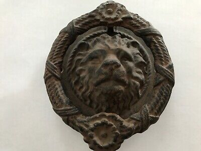 Antique- Vintage Cast Iron Lion Head Knocker Hardware