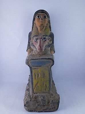 RARE ANCIENT EGYPTIAN ANTIQUES Hathor Sculpture HOREMHEB STATUE  1320-1292 BC