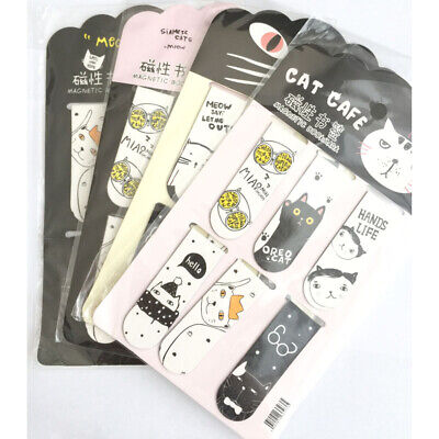 10 Sets Kawaii Oreo Cat Magnetic Bookmarks Books Marker of Page Stationery