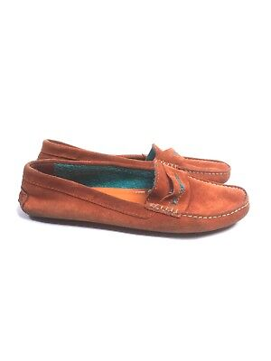 69f55449c14e4 MANOLO BLAHNIK ROADSTER Orange Suede Driver Driving Loafer, Size 35 ...