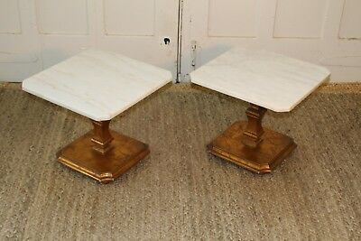 Hollywood Regency Mid Century Gold Gilt Marble End Tables