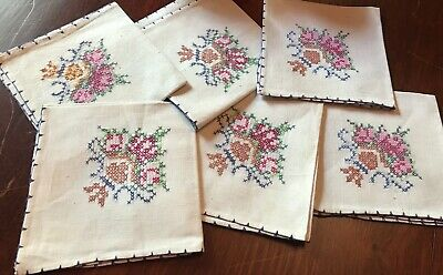 6 Hand Embroidered Linen Napkins Pink Rose Shabby Chic Blue