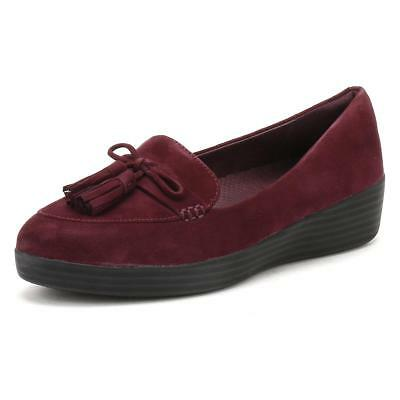 3f3a4f8c4076a Women s FitFlop size 8 Plum Suede Sneakerloafer Tassel-Bow Slip On Shoes NEW