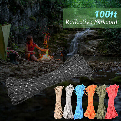 50m Reflective Rope Paracord Cord Outdoor Gear Lanyard 1 Inner Strand Core X1J7
