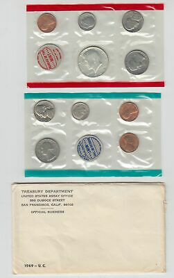1969 US Mint Set in OGP Envelope - 10 Coins P D & S