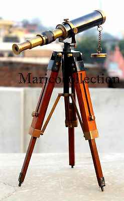 Antique Vintage Brass Telescope With Wooden Tripod Pirate Spyglass Nautical Gift