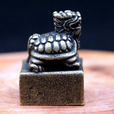 Antique Chinese Collectible Rare Brass Handwork Loong Turtle Seal Statue