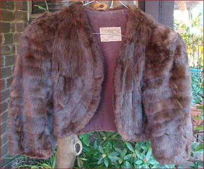 Vintage Retro Fur Bolero Coat Jacket Dark Brown Size Small 8 10