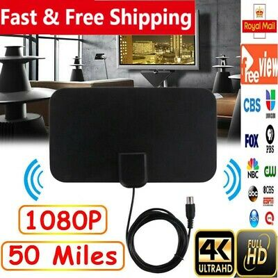 Thin Digital HDTV Indoor Freeview Antenna TV Aerial Amplifier 50 Mile Range NEW!