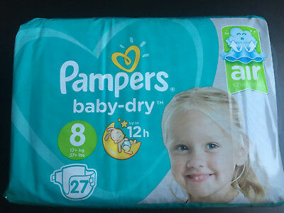 Pampers baby dry taille 8 paquet neuf 27 couches XXL incontinence ABDL énurésie