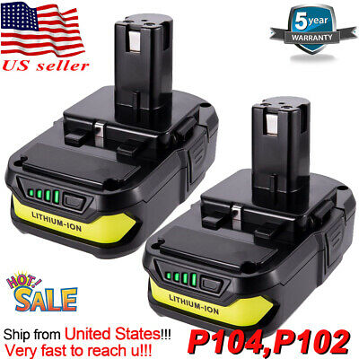 2XFor Ryobi P108 18V P102 2.0Ah Lithium Ion Battery Pack Replaces P107 P105 P103