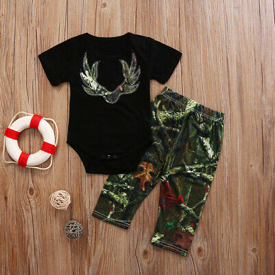 US STOCK Toddler Baby Boys Summer Tops Romper Camo Pants Outfits Set Clothes