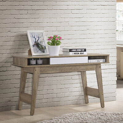 White Wooden Single Drawer Console Table Rustic Country Style Hallway Storage