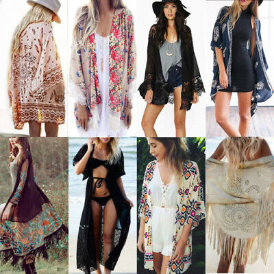 Womens Boho Floral Beach Cover Up Kimono Cardigan Jacket Tops Blouse Shawl