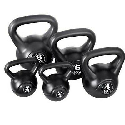 Vinyl Kettlebell Weight Fitness Home Gym Workouts Kettlebells 2-12kg