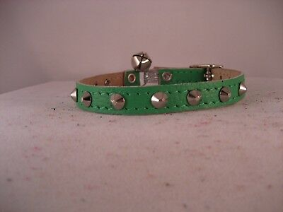 Leather Green Studded Cat Collar