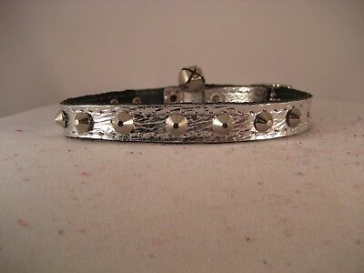 Leather Silver Studded Cat Collar