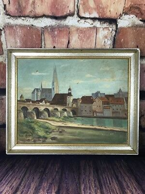 Vintage Original Painting Of Bridge and Town Scene Signed By Artist Irene Ringut