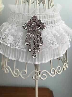 AU Ivory Gatsby Style Lace Wedding Day Garter bling feature Plus SIZES