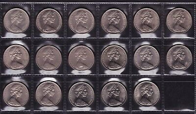 Twenty 20 cent coins Australian 17 coins 1966 to 1982 all dates