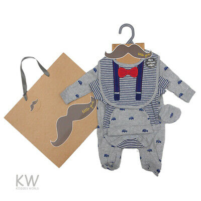 baby boy bow tie sleepsuit bib hat mitts outfit new born 0-3-6 months gift set