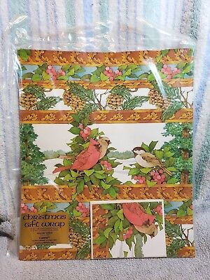 NIP Vintage 1979 CURRENT Christmas Holiday Birds Gift Wrap w/Cards