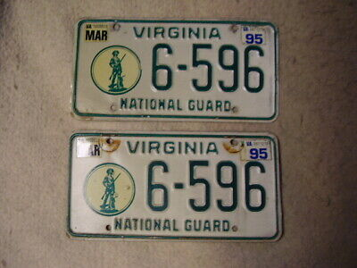 Virginia National Guard License Plate, 6-596, MAR 95 Stickers, matched pair