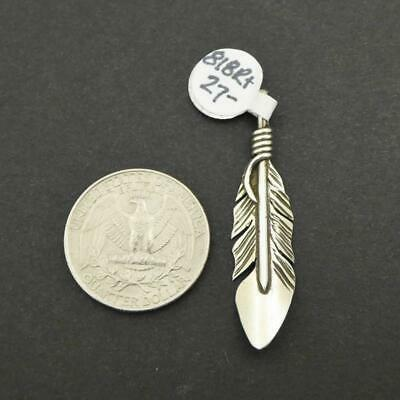 Native American Navajo Sterling Silver Detailed Feather Pendant Elvira Chavez