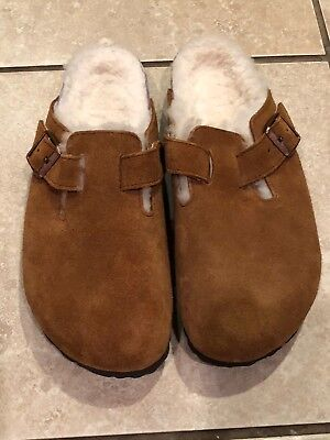 adcc90cf4 Women's Birkenstock Boston Shearling Clogs Mink Natural Suede Leather Size  38