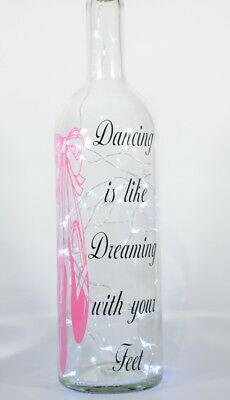 Decorative Wine Bottle with Dancing/Ballet themed verse & Battery LED lights