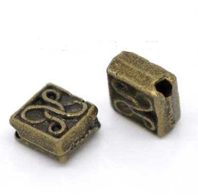 10 x Square DIamond Spacer Beads charms, Antique Bronze -tone  (5 x 5mm)