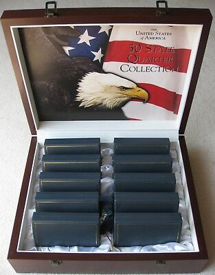UNCIRCULATED State Quarter Set 1999-2008 P/D + Territories 2009 + Wooden Display