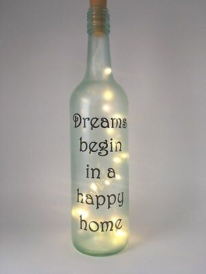 light up bottle new/ first/ happy home housewarming personalised gift present