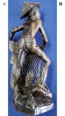 Asian Wooden Carved Fisherman Statuette
