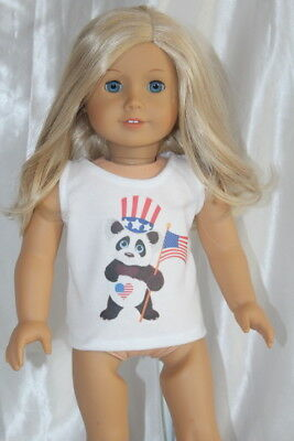 White T-Shirt fits 18inch American Girl Doll Clothes Hearts Panda